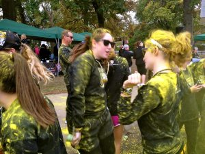 Erin and I dancing in our ponytails after the Black and Gold Run.