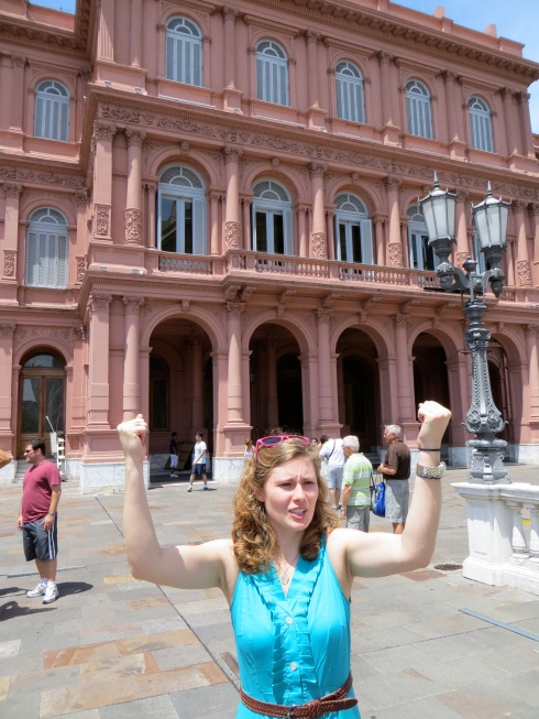 """Singing """"Don't Cry for Me Argentina"""" in front of the balcony that made Evita famous."""