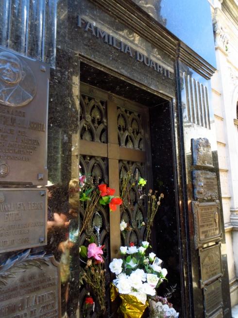 Eva's decorated grave