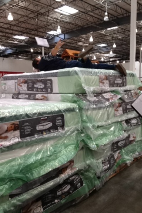 Josh testing a mattress in Costco. Normal?