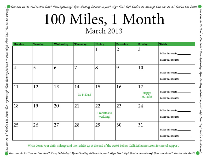 100 miles 1 month call me shannon for 100 mile table
